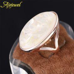Ajojewel  Size 7,8,9,10,11 Rose Gold Plated Elegant White Natural Shell Very Big Stone Brand Rings For Women/Men