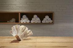 Towel holder yoga studio