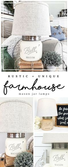 Mason Jar Lamps on Etsy! Love these table lamps made from mason jars! Could be a total #diydecor project also! Of course fits naturally into #farmhousedecor vibes :):) #rusticdecor #masonjardecor #masonjardiy #fixerupper #ad
