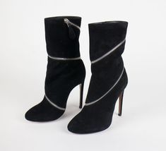 7660696e1c8c Details about NIB ALAIA Black Suede Wrap Around Zip 4.5