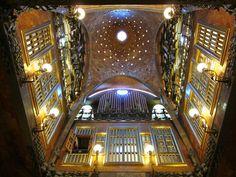BARCELONA - MODERNISM OF GAUDI: PALAU GÜELL ~ Ceiling in the great hall.