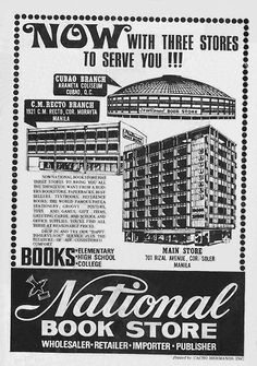 Vintage Ads, Vintage Posters, National Book Store, Filipino Culture, Local Ads, Old Advertisements, Advertising Poster, Manila, Poster Vintage