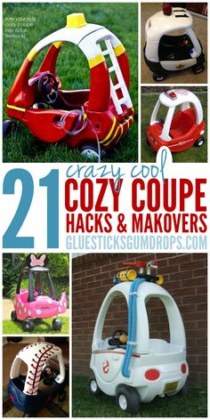 Sewing For Kids 21 Cozy Coupe Makeovers and Redos Your Kids Will Go CRAZY For - Give your kid the coolest ride on the block! These cozy coupe hacks are GENIUS! Little Tykes Car, Little Tikes Makeover, Diy For Kids, Gifts For Kids, Kids Fun, Cozy Coupe Makeover, Kids Ride On, Ride On Toys, Kids Playing