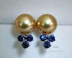 HS Golden South Sea Cultured Pearl 9.5mm Sapphire .84ctw 14KWG Stud Earrings Top #HSJewelleryPremiumPearlClassic #Stud #BirthdaysBridalAnniversaryThanksgivingXmas