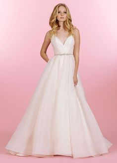 Blush by Hayley Paige Opal 1453 V-Neck Ball Gown Wedding Dress