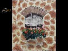 """Ζωγραφίζουμε """"παράθυρο με λουλούδια"""", μάθημα 13ο... - YouTube Oil Paintings, Canvas, Artwork, Youtube, Drawing Drawing, Tela, Work Of Art, Auguste Rodin Artwork, Canvases"""