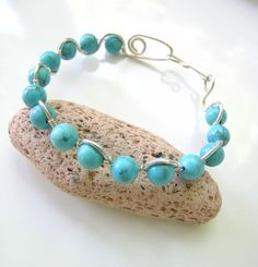 Turquoise and Sterling Silver Bracelet Bangle with Handmade Clasp