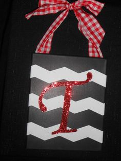 Chevron Initial Canvas with Glitter and Ribbon