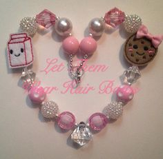 Pink and White Best Friends Milk and Cookies Chunky Bead Necklace for Little Girls, Kids Jewelry, Toddlers, Trendy Gifts Under 20, Popular on Etsy, $14.00