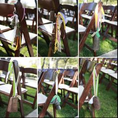 cow bells decorate the chairs at a farm wedding