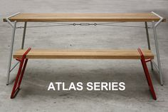 'Atlas Series' by Psalt Design. Available www.psaltdesign.co.uk #madebyhand #oak #bench #seat #chair #interior #newproduct #contemporary #colour #contrast #timber #wood #steel #raw red #grey