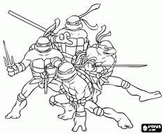 online coloring The four Ninja Turtles: Leonardo, Michelangelo, Donatello and Raphael. Teenage Mutant Ninja Turtles or TMNT coloring page
