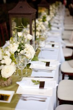 Back to Main Wedding Tablescapes Gallery source - stylemepretty. Rustic Wedding, Our Wedding, Dream Wedding, Green Brown Wedding, Reception Decorations, Table Decorations, Low Centerpieces, Wedding Colors, Wedding Flowers