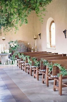 Vibrant greenery brings the outdoors in for this chic wedding ceremony. Wedding Aisle Inpiration