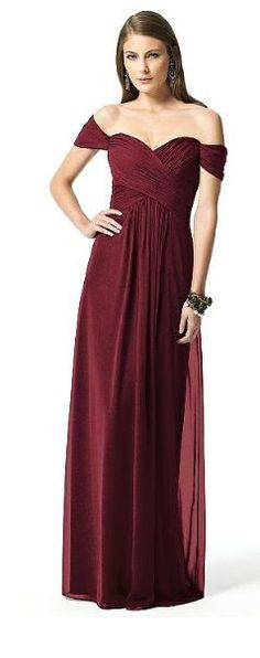DESSY 2844 Bridesmaid Dress Sz 8 Wine Merlot Burgundy Off Shoulder