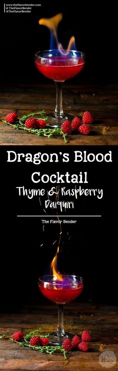 [msg 4 21+] Flaming Dragon's Blood Cocktail - Thyme and Raspberry Daiquiri for parties. A showstopping flaming Halloween Cocktail made with raspberries and thyme. via @theflavorbender [ad] #NightofTheBat #UnmaskYourSpirit