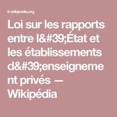 Loi sur les rapports entre l'État et les établissements d'enseignement privés — Wikipédia