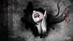 dark horror fantasy art gothic women vampires blood face