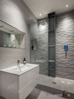 Fascinating White Tile Design For Shower Bathroom Plus Lighting Ceiling Including White Small Vanity Sink Also Mirror On The Wall Also Wooden Floor Tile design ideas for an modern shower Bathroom