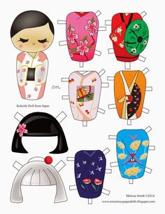 Miss Missy Paper Dolls: Kokeshi Paper DollYou can find Kokeshi dolls and more on our website.Miss Missy Paper Dolls: Kokeshi Paper Doll Diy Paper, Paper Art, Paper Crafts, Papier Diy, Paper Dolls Printable, Thinking Day, Vintage Paper Dolls, Japanese Paper, Kokeshi Dolls