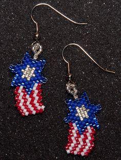 Patriotic Shooting Star by HandMadeBeadedCrafts on Etsy