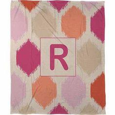 Thumbprintz Batik Monogram Fleece Throw, Pink