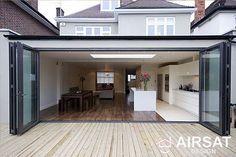 External Aluminium Bifold Doors in Opened Position