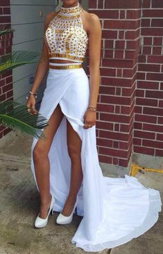 Slits Prom Dresses, White Slits Prom Dresses, Spli… -  Prom shopping is alive and well on Pinterest. Compare prices for this @ Wrhel.com before you commit to buy. #Prom