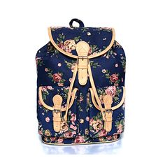 Blue Floral Backpack by ShaunDesign on Etsy https://www.etsy.com/listing/150058937/blue-floral-backpack