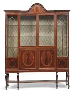 AN EDWARDIAN MAHOGANY AND MARQUETRY DISPLAY CABINET -  BY MAPLES & CO., EARLY 20TH CENTURY