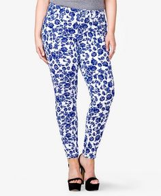 Forever 21+: - A pair of skinny jeans featuring a floral print. Zip fly and button closure. Five-pocket construction. Belt loops. Tonal top stitching. Stretch fit. Woven. Lightweight.