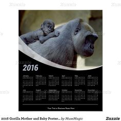 2016 Gorilla Mother and Baby Poster Calendar