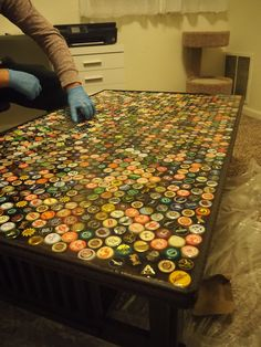 DIY - How to make a beer cap table.