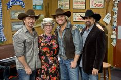 """The Texas Tenors join Nadine on the set of RFD-TV's """"Larry's Country Diner."""""""