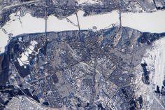 Thomas Pesquet, Astronaute français sur l'ISS : Fleuve gelé dans la ville de Voronej sous la neige en hiver, Russie (16/02/2017)