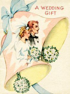 Shop Vintage Wedding Gift Card created by RetroMagicShop. Vintage Wedding Cards, Vintage Greeting Cards, Vintage Bridal, 1930s Wedding, Wedding Anniversary Cards, Wedding Album, Wedding Bells Clip Art, Old Cards, Decoupage Vintage
