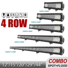 "12"" 15"" 20"" 29"" 44'' LED Light Bar 4 Row Combo Led Work Light Offroad Led Bar  | eBay"