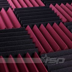 12x12x2 (12 Pack) Burgundy/Charcoal Acoustic Wedge Sound Proofing/Treating Studio Foam Tiles