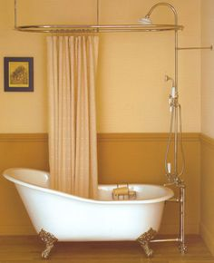 Clawfoot tub shower... Not the right tub- but the right plumbing with the three outputs.