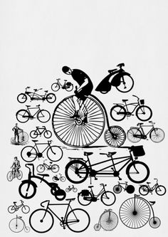 Bicycles through time in B illustration