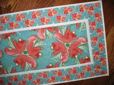 Floral Table Runner Quilted fabric from Free by PicketFenceFabric, $30.00