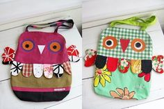 owl bags- these are so cute! I would love to try them, but i cant sew