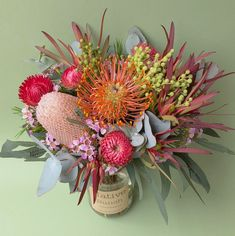 Native Posy in a jar Pincushions, banksia, Waxflower, Strawflowers, Berezilia, Leucadendrons