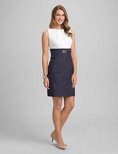 7ac8565ef18 Lace and Denim Sheath Dress-dressbarn Miss Dress