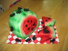 Watermelon ants picnic birthday cake spring summer