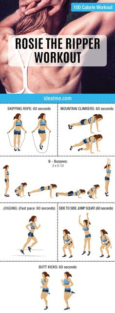 Check out this awesome 10-minute Rosie the Ripper giant set 100-calorie workout. Giant sets are great for people looking to burn extra body fat in a short amount of time.