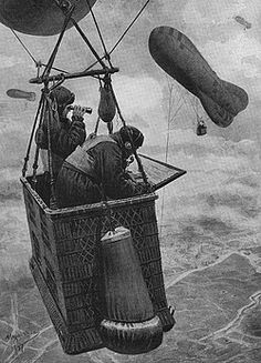A Kite Balloon car over the Western Front, WW1