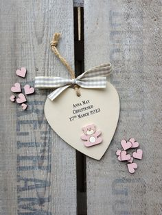 Personalised wooden heart teddy bear by weedots on Etsy, £8.50