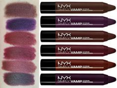 NYX Simply Vamp lip crayons From top to bottom: Enamored, Temptress, Aphrodisiac, Bewitching, Covet and She Devil.