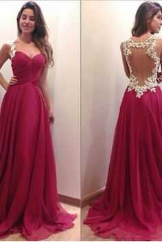 A-line Sweetheart Prom Dress, Red Chiffon Prom Dress, Lace Long Prom Dress, See Through Back Evening Prom Dress Prom Dresses 2016, Backless Prom Dresses, A Line Prom Dresses, Formal Dresses, Dress Prom, Prom Gowns, Party Dress, Dresses Dresses, Formal Prom